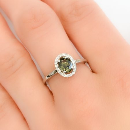 Olive Green Sapphire Halo Ring 18K White Gold