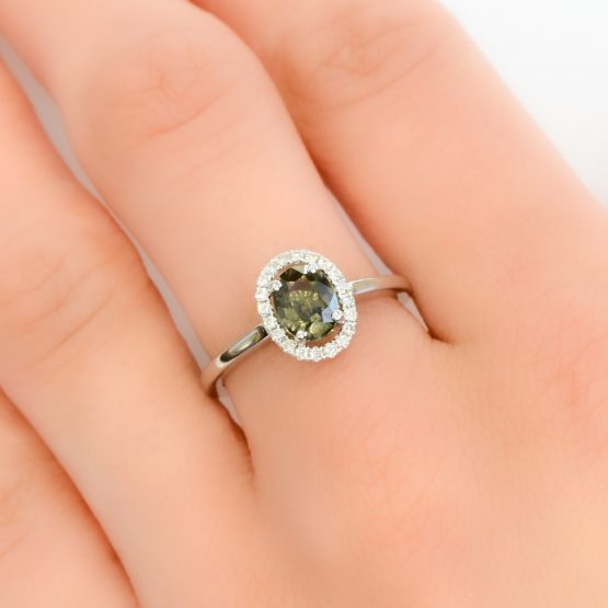 Green Sapphire Halo Ring - 1982262
