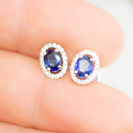 Sapphire & Diamond Halo Stud Earrings - 1982263