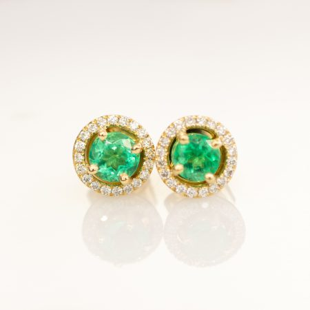 Colombian Emerald Diamond Halo Stud Earrings 18K Yellow Gold