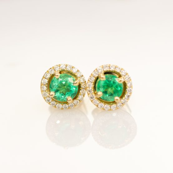 Emerald Diamond Halo Stud Earrings - 1982264-1