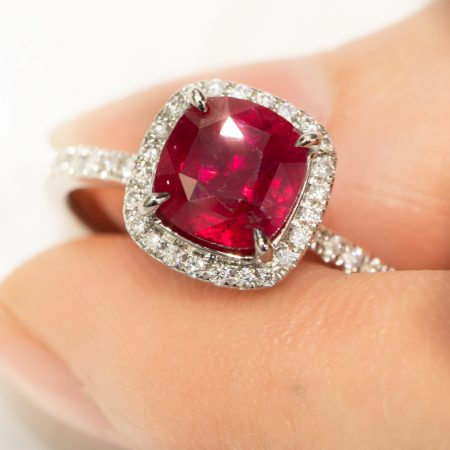 2.02ct Unheated Natural Ruby Ring in 18K Gold Halo Ring