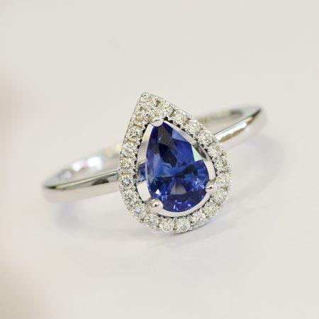 Pear Cut Natural Unheated Sapphire & Diamond Halo Ring 18K Gold