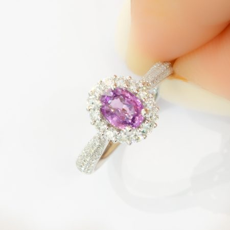 RRV: $8.950 Natural Pink Sapphire and 74 Diamond Halo Ring in 18K Gold