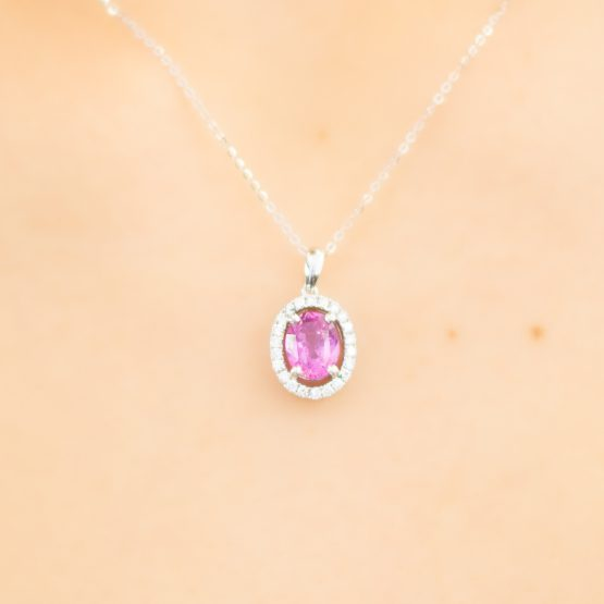Pink Sapphire and Diamonds Halo Pendant - 1982273