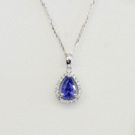 Pear Shaped Sapphire Diamond Halo Pendant 18k White Gold