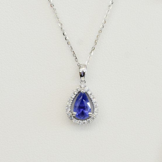 Pear Shaped Sapphire Diamond Halo Pendant - 1982271-2
