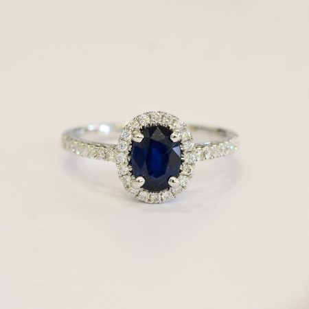 Natural Blue Sapphire and Diamond Halo Ring 18K Gold