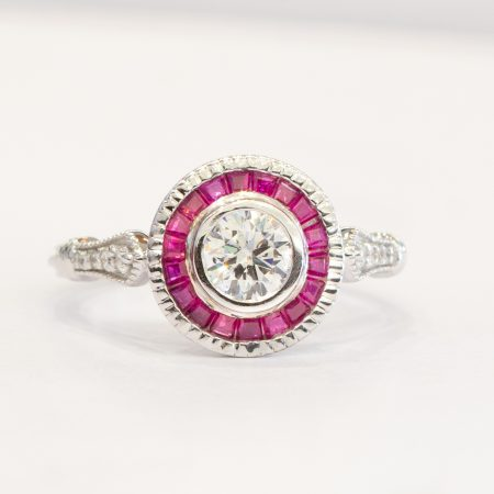 0.50ct Diamond Ring with Ruby Halo in 18K Gold