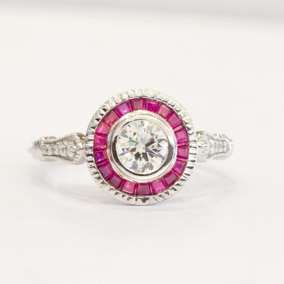 0.50ct Diamond Ring with Ruby Halo - 1982286-3