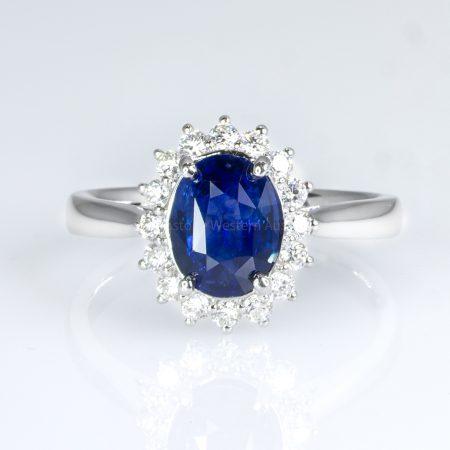 Royal Vivid Blue Sapphire & Diamond Ring 18k Gold Diana Inspired Design