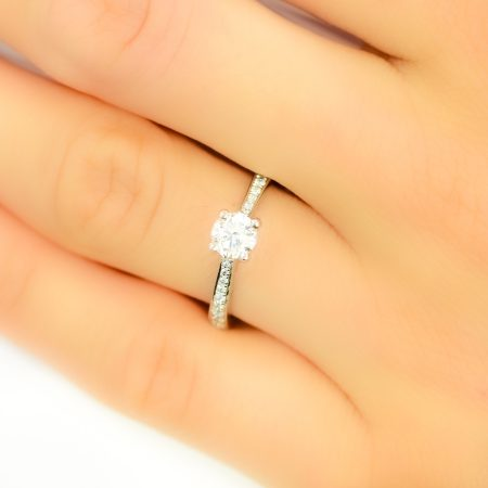 0.65ct Diamond Solitaire Engagement Ring with Accents in 18K White Gold