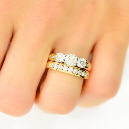 2.0ct Diamond 3 Stone Ring and Half Eternity band Set in 18K