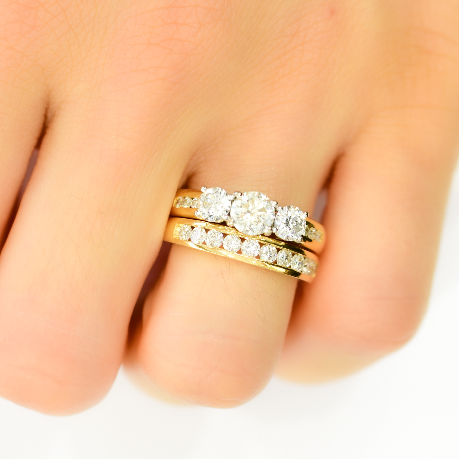 3 Stone Ring and Half Eternity band - 1982287-5