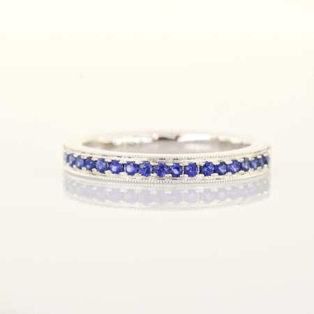 Ring Band with Natural Blue Sapphires 18 Carats White Gold