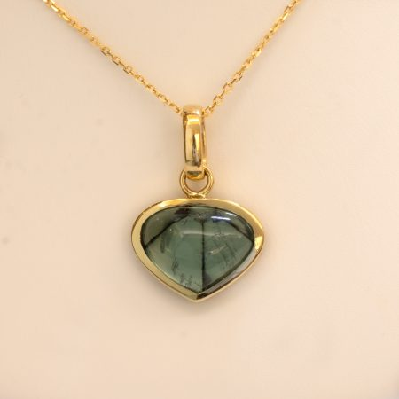 5.28ct Natural Colombian Emerald Trapiche Pendant in 18K Yellow Gold