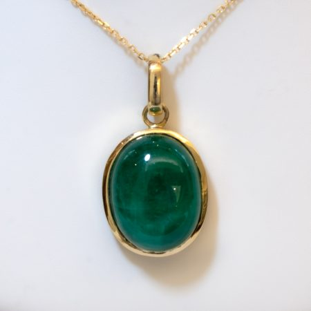 19.6ct Natural Colombian Emerald Pendant in 18K Yellow Gold
