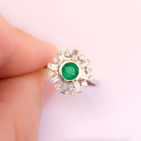 Art Deco Diamond and Colombian Emerald Halo Ring