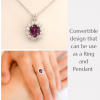 Natural Spinel Convertible Halo Ring and Pendant - 1982296