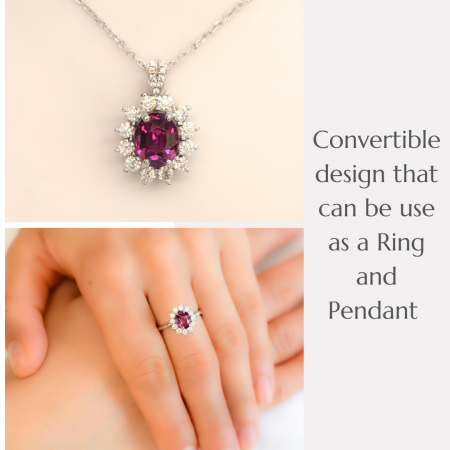 Natural Spinel Convertible Halo Ring and Pendant in 9ct White Gold