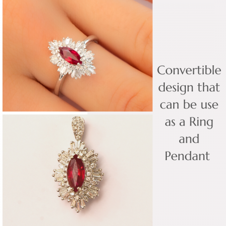 Unheated Natural Vivid Red Ruby and Diamonds Convertible Ring and Pendant