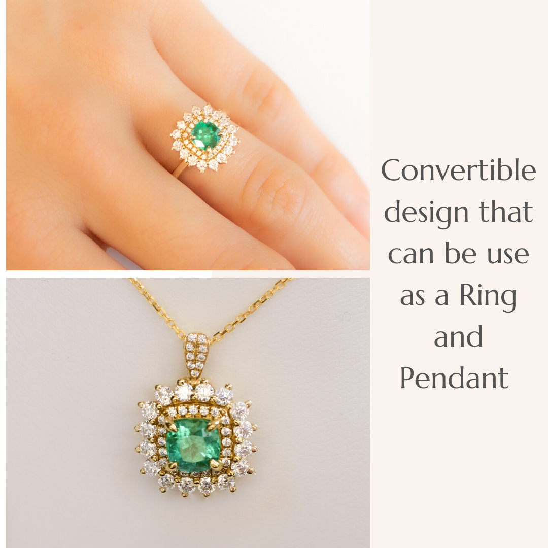 Natural Colombian Emerald Two Way Use Ring and Pendant