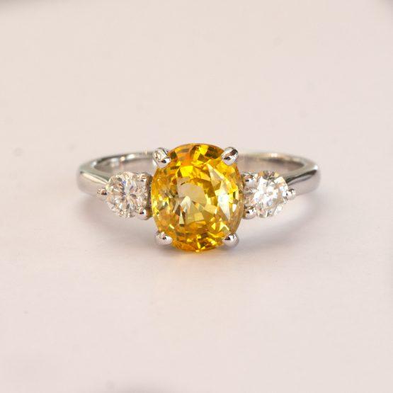 Vivid Yellow Sapphire and Diamonds Three Stone Ring - 1982297