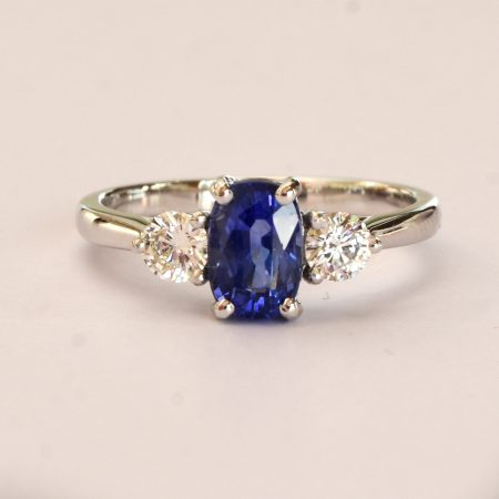 Cornflower Blue Ceylon Sapphire and Diamond Three Stone Ring 18K Gold