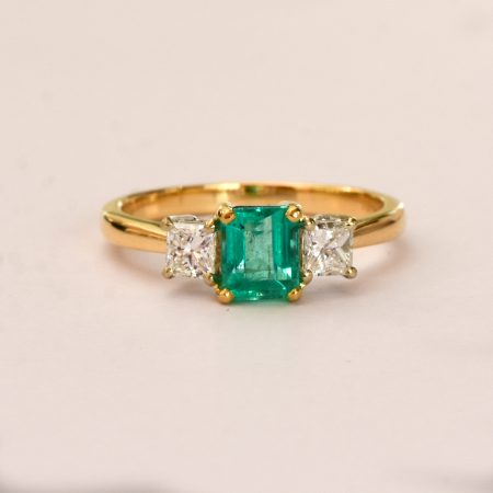 Natural Colombian Emerald and Diamond Three Stone Ring in 18K Gold