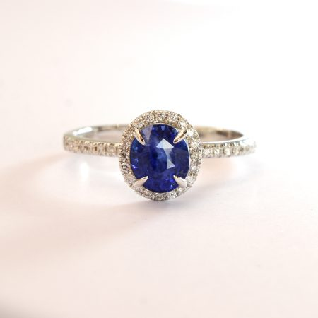 Unheated 1.85ct Ceylon Sapphire and Diamond Halo Ring in 18k White Gold