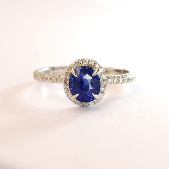Unheated 1.85ct Ceylon Sapphire and Diamond Halo Ring - 1982300