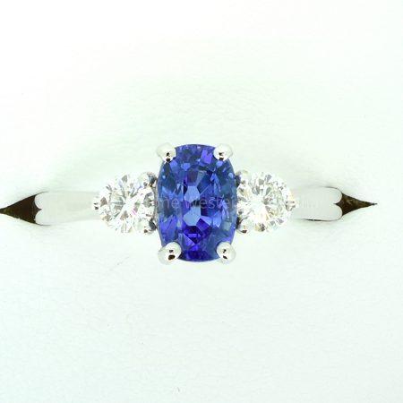 Cornflower Blue Ceylon Sapphire and Diamond Three Stone Ring 18K Gold