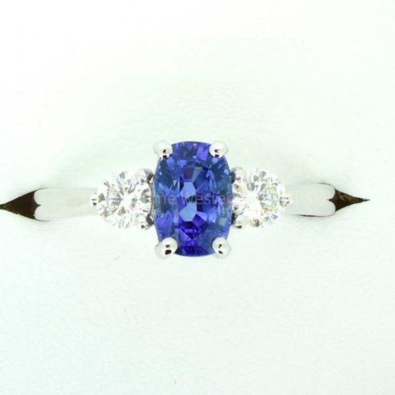 Cornflower Blue Ceylon Sapphire and Diamond Three Stone Ring - 1982298