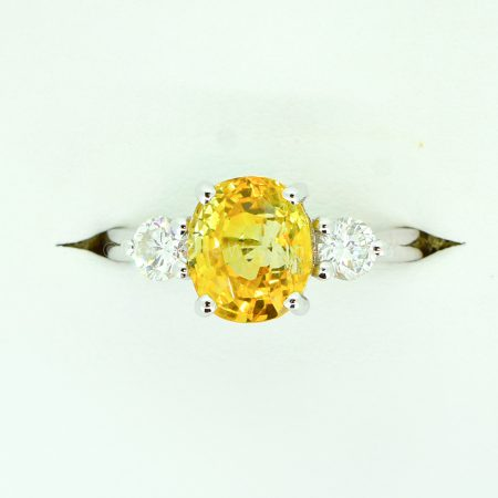 Vivid Yellow Sapphire and Diamonds Three Stone Ring in 18ct Gold