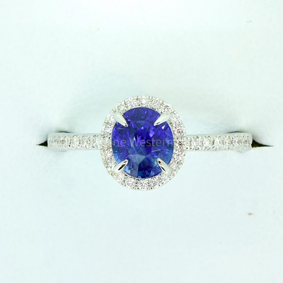 Unheated 1.85ct Ceylon Sapphire and Diamond Halo Ring - 1982300-7