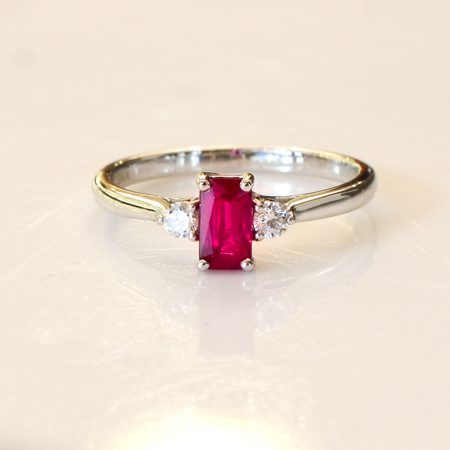 Natural Ruby and Diamond Three Stone Ring 18K Gold