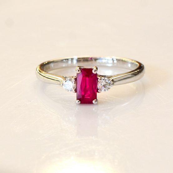 Natural Ruby and Diamond Three Stone Ring - 1982311