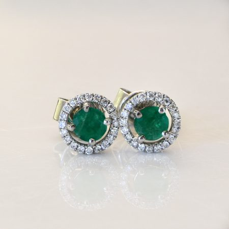 0.70ct Natural Colombian Emerald and Diamond Stud Earrings in 18K Gold