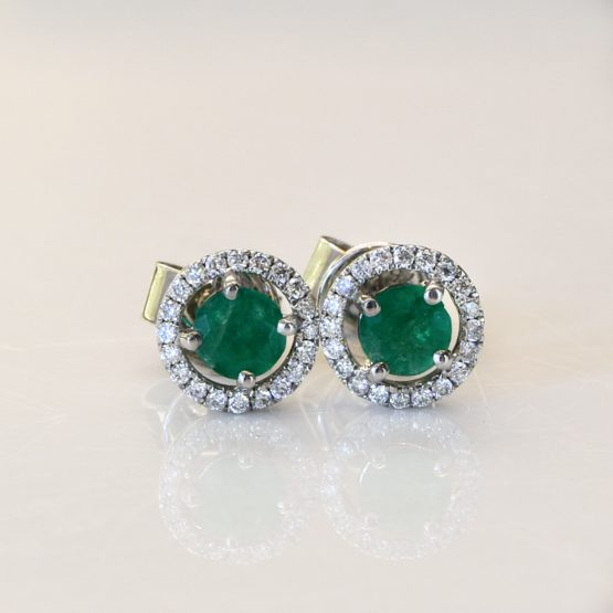 Colombian Emerald and Diamond Stud Earrings - 1982313