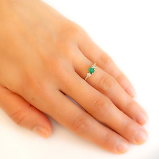 Natural Colombian Emerald and Moissanite Ring - 1982302-2
