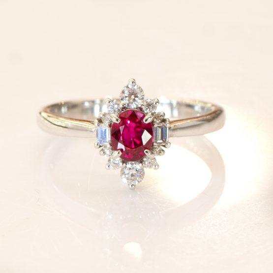 Natural Vivid Red Ruby and Diamond Ring - 1982312