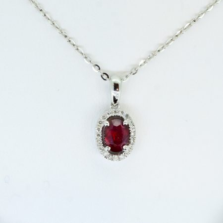 Natural Ruby and Diamond Halo Pendant in 18K Gold