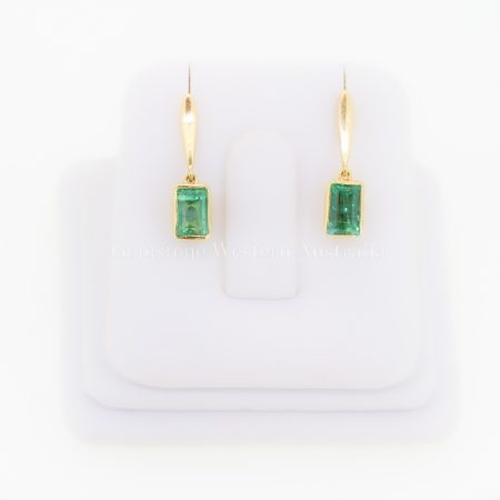 Natural Vivid Green Colombian Emerald Dangle Earrings 18K Gold