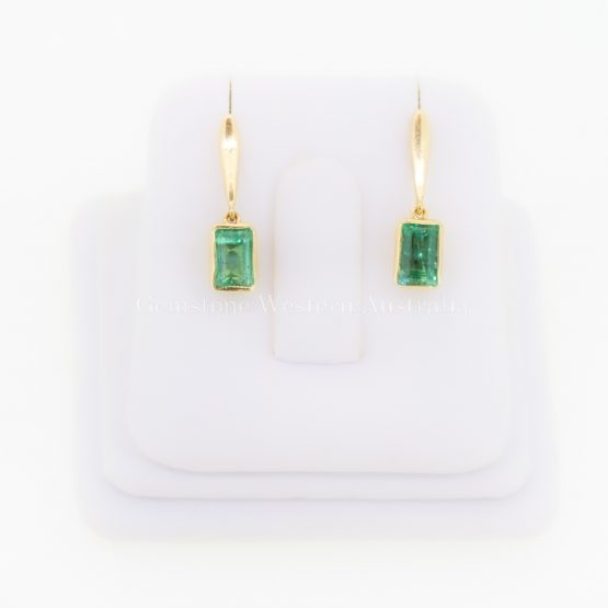 Natural Vivid Green Colombian Emerald Dangle Earrings 18K Gold - 1982319