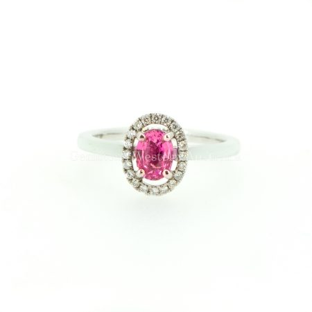 Natural Pink Sapphire and Diamond Halo Ring in 18K Gold