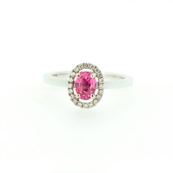 Natural Pink Sapphire and Diamond Halo Ring in 18K Gold - 1982315