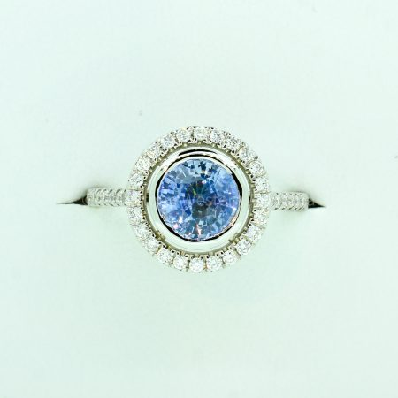2.06ct Ceylon Light Cornflower Blue Sapphire and Diamond Ring