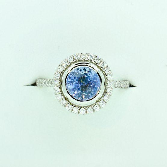 2.06ct Ceylon Light Blue Sapphire and Diamond White Gold Ring - 1982325-1