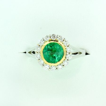 1.50 Carat Colombian Emerald and Diamond Halo Ring