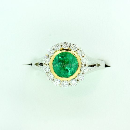 1.20 Carat Colombian Emerald and Diamond Halo Ring - 1982324-3